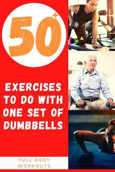People of all ages working out with dumbbells and promoting a list of over 50 dumbbell workouts you can do at home.